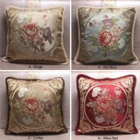 European  Style Jacquard Floral Cushion Cover